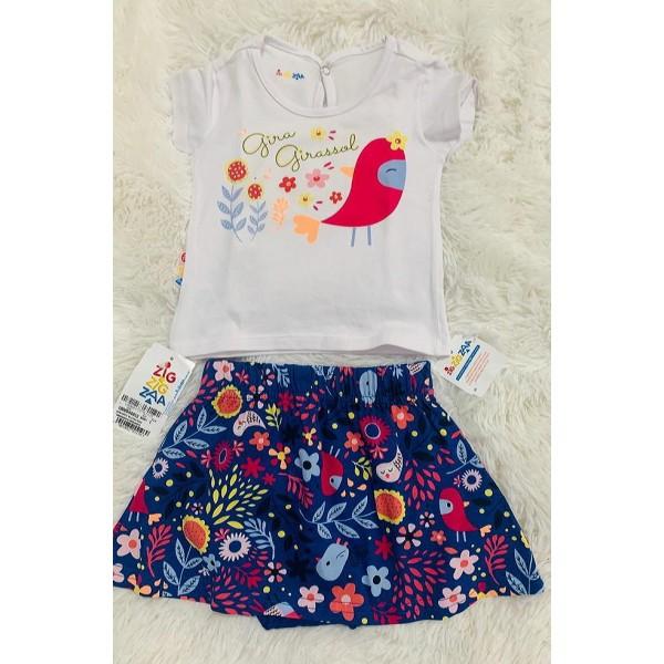 Conjunto Feminino Camiseta Girassol / Saia Azul Fl...