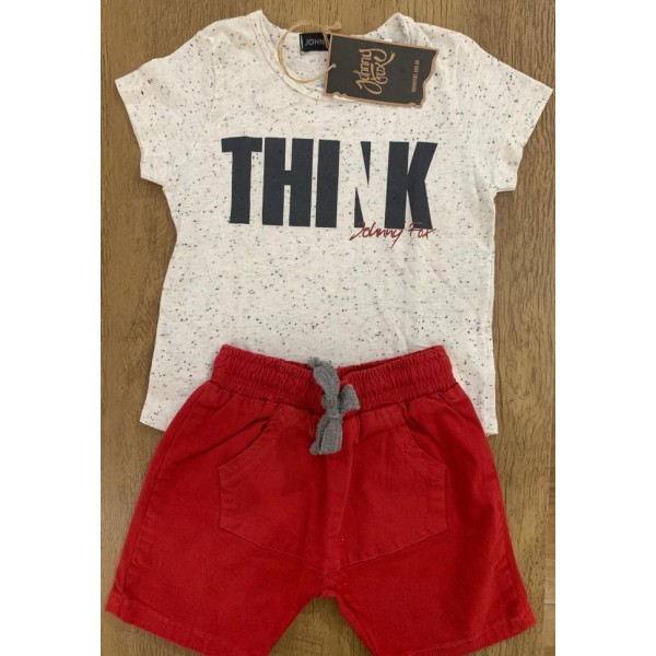 Conjunto Masculino Camiseta Palha/Bermuda Vermelha...