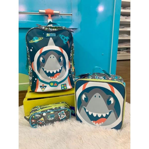 Mochila P Tubarão Rod + Lancheira + Estojo Puket
