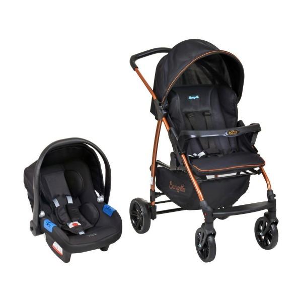 Carrinho de Bebê Ecco Preto / Cobre + Bebê Confo...