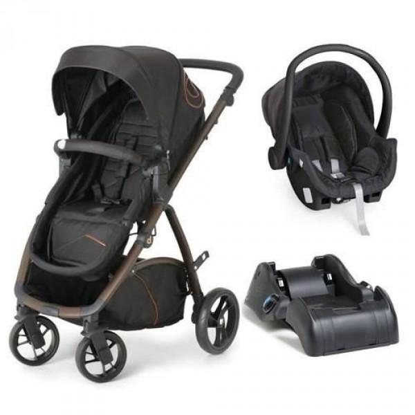 Carrinho Maly Black Copper +  Bebê Conforto Preto...