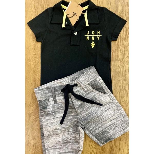 Conjunto Masculino Camiseta Polo Marinho/Bermuda C...