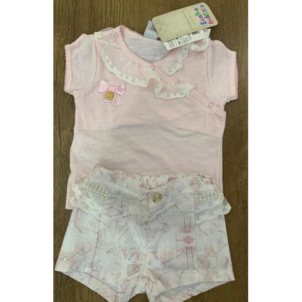 Conjunto Feminino Camiseta Rosa Detalhe Renda / Sh...