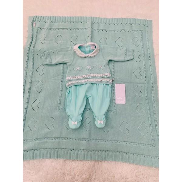 Saída de Maternidade Tricot Verde Beth Bebê