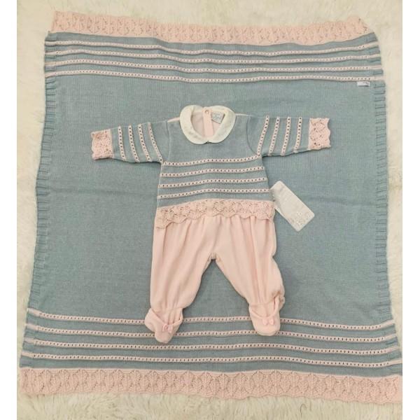 Saída de Maternidade Tricot Azul/Rosa Beth Bebê