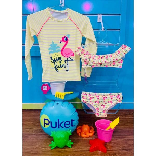 Biquíni Teen Flamingo Abacaxi + Camiseta