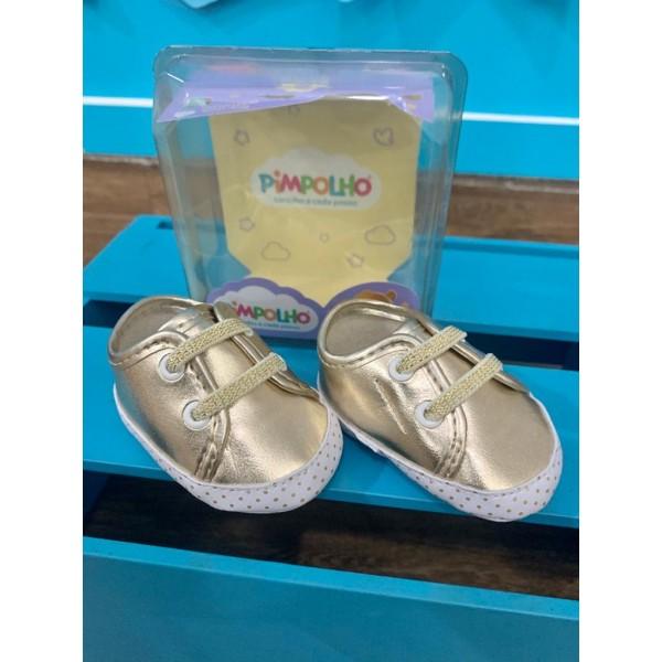 Sapato Infantil Dourado Cadarço Pimpolho Feminino
