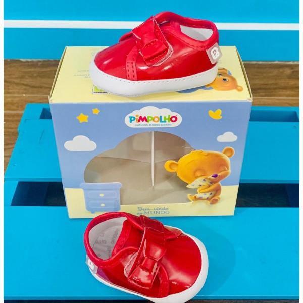 Sapato Infantil Verniz Vermelho Laço Pimpolho Fem...