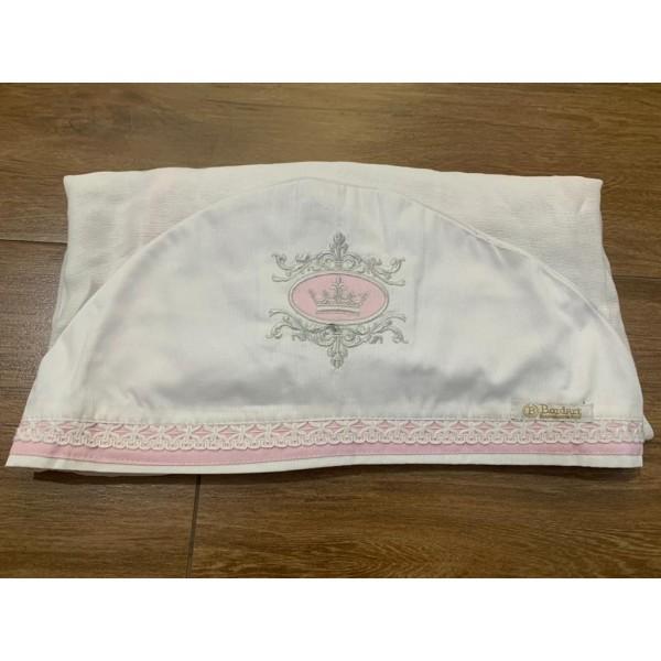 Toalha Fralda de Banho com Capuz Bordado Coroa Ros...