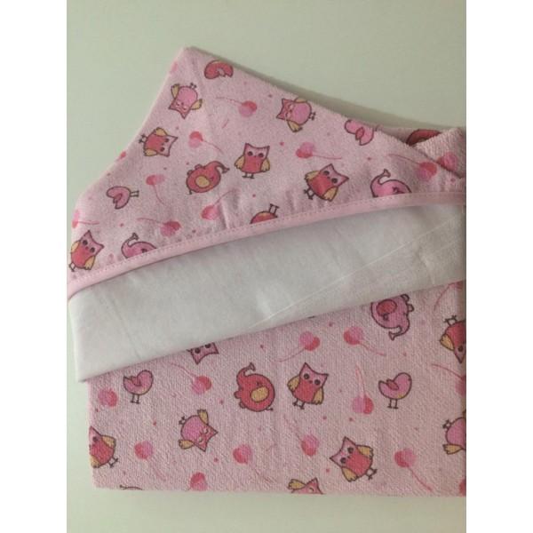 Toalha de Banho com Capuz Carícia Baby Rosa
