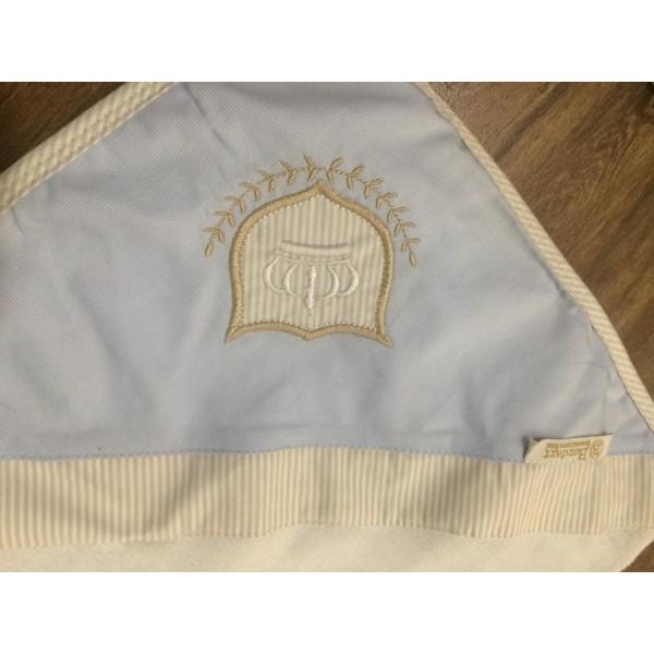 Toalha Fralda Branca Bordada Coroa Azul e Bege