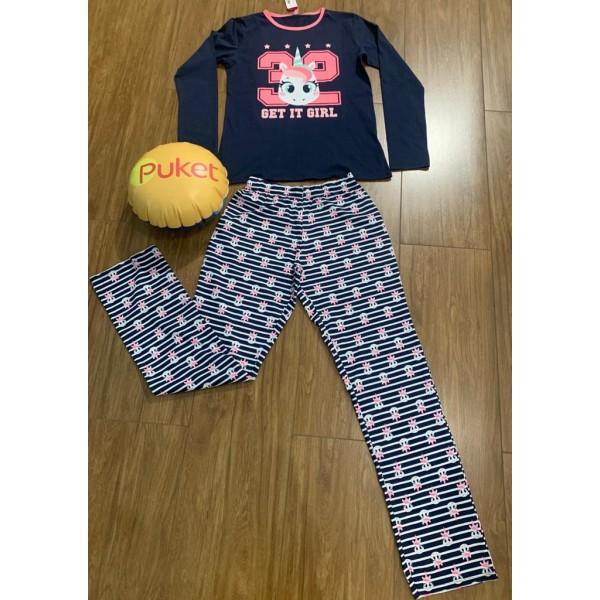 Pijama Unicórnio Manga Longa Adulto Puket