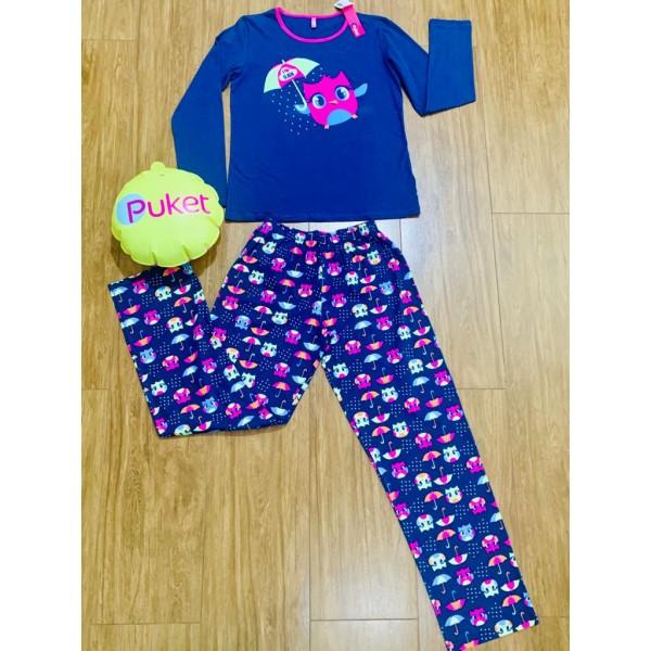 Pijama Coruja Manga Longa Puket ( Tamanho PP ao GG)