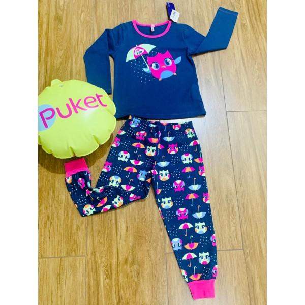 Pijama Coruja Manga Longa Puket ( Tamanho 1 ao 6 )