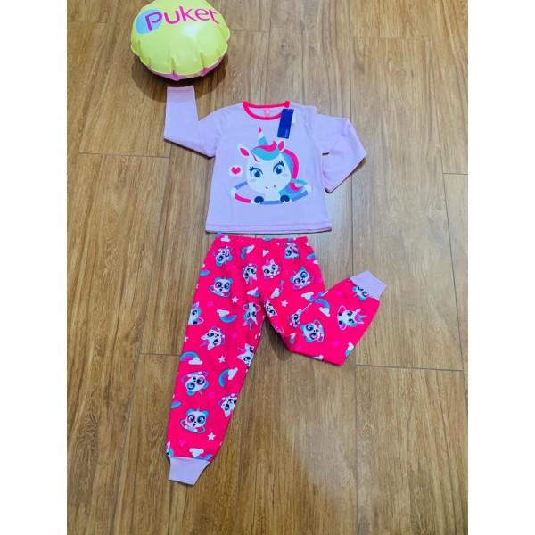 Pijama Unicórnio Gata e Panda M Longa Puket ( Tam...