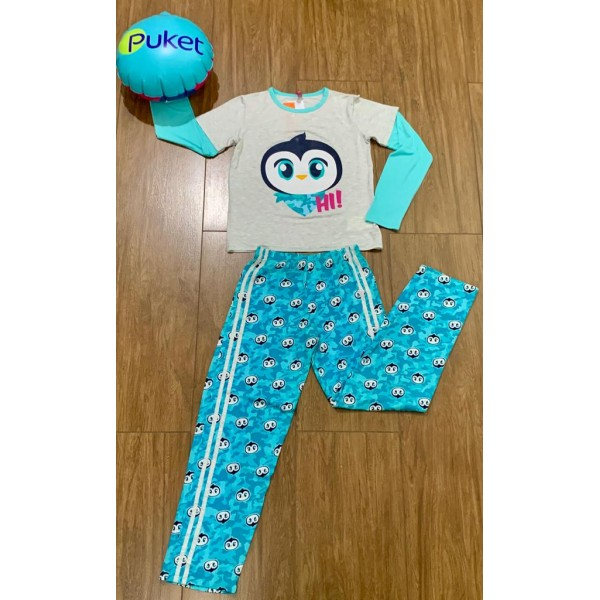 Pijama Pinguim Manga Longa (Tamanho 1 ao 6 )