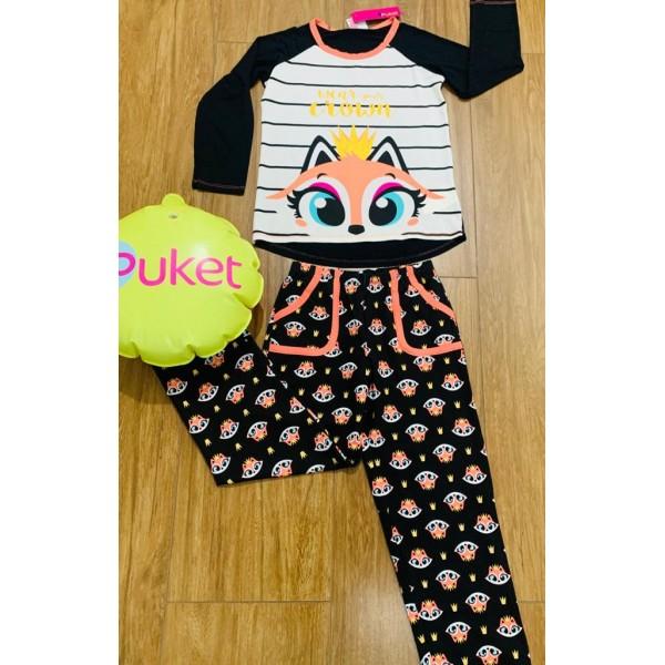 Pijama Raposa Manga Longa Adulto Puket ( Tamanho P...