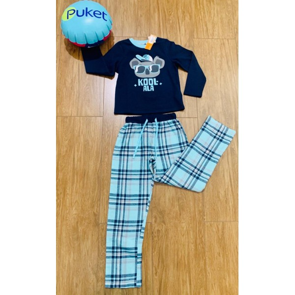 Pijama Coala Flanelado Xadrez Manga Longa Puket