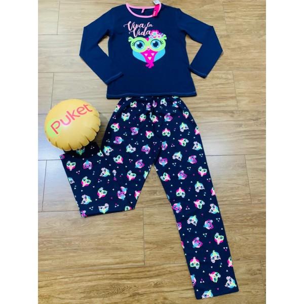 Pijama M Longa Coruja México Puket ( PP ao GG )