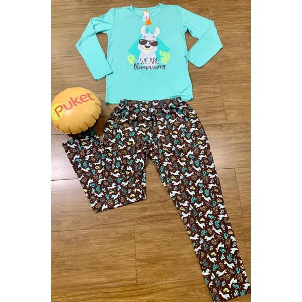 Pijama M Longa Lhama Masculino Visco Puket ( PP ao GG )