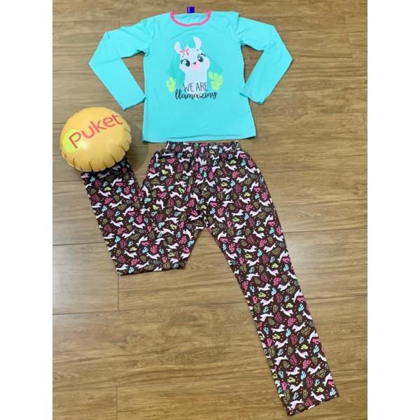 Pijama M Longa Lhama Feminino Visco Puket ( PP ao ...