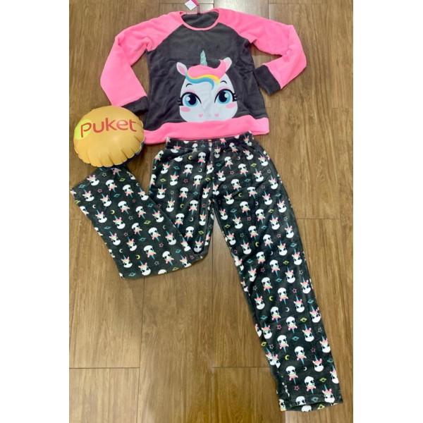 Pijama Unicórnio Soft M Longa Puket ( PP ao GG )