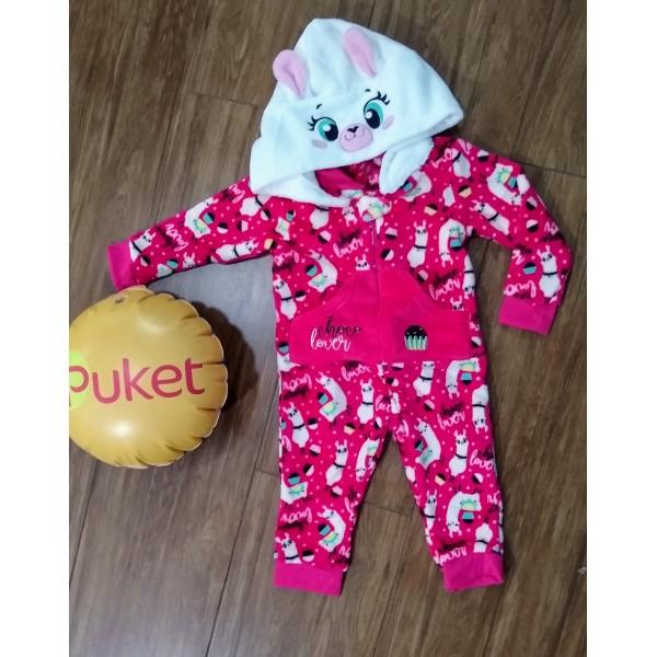 Pijama Macacão Fantasia Kids Soft Lhama Puket ( Tamanho 1 ao 6 )