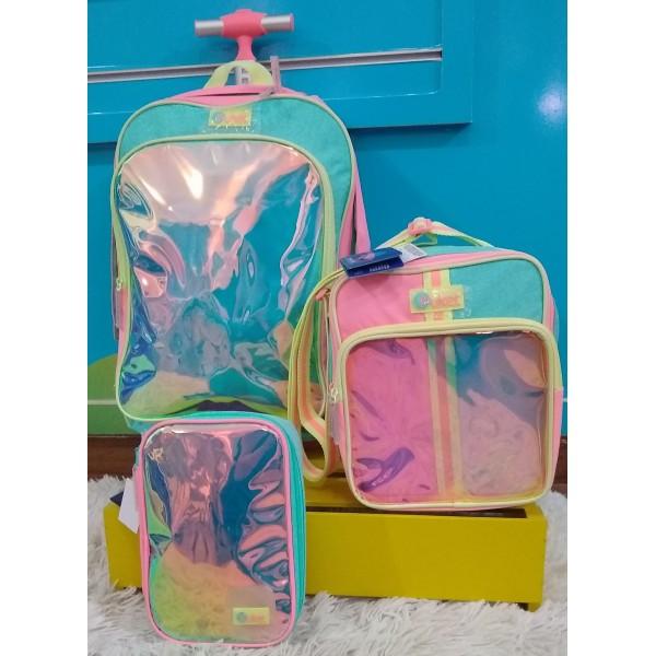 Mochila G Rodinha Color Block + Lancheira + Estojo...