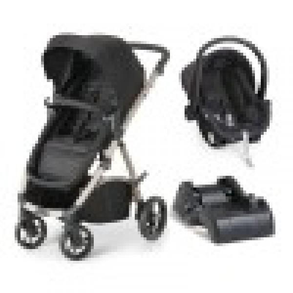 Carrinho de Bebê Maly Black Sand + Bebê Conforto + Base