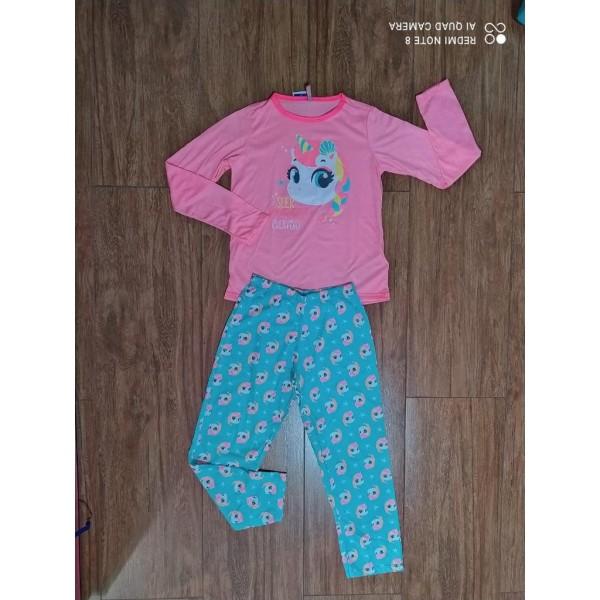 Pijama Manga Longa Unicórnio Rosa e Verde Puket
